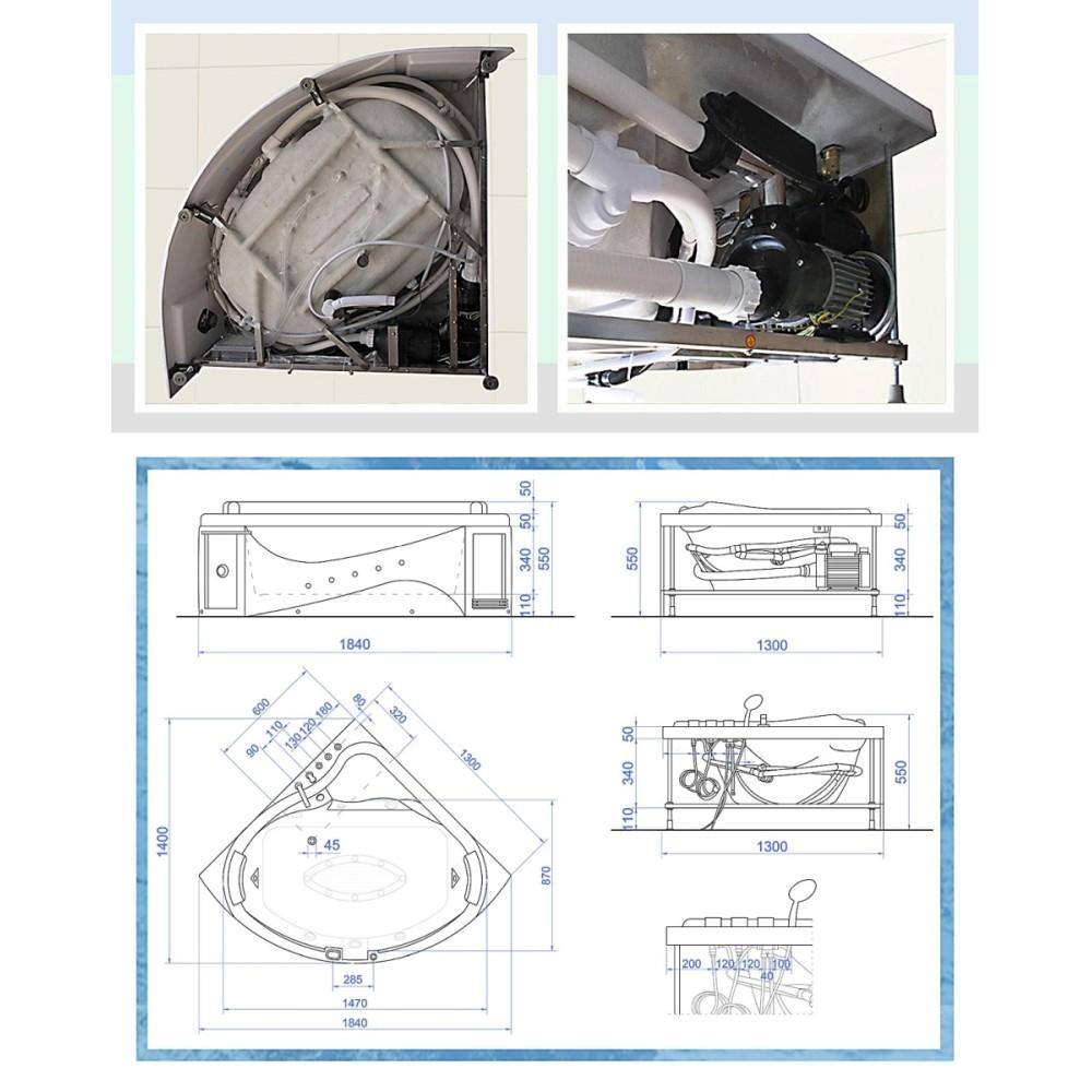 7年保証! ・ 3232-F ・ 132x132x66h ・ BLUETOOTH ・ バスタブ、ジェットバス、ハンドシャワー付き、全身マッサージ、ジャグジーバス、ジャグジー浴槽
